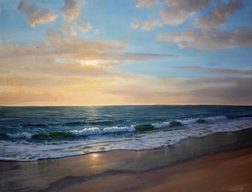"Morning Beach   30"" x 40"" Oil"