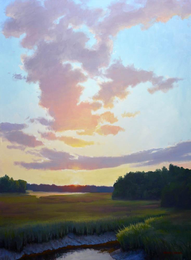 """Marsh at Sunset     40"""" x 30"""" Oil"""
