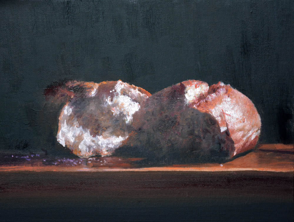 "Breaking Bread    9"" x 12"" Oil   Gallery Price:  $1,800    Sale Price:  $900"