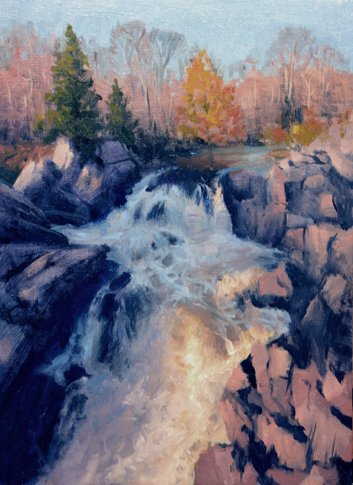 "Olmstead Island Great Falls   12"" x 9"" Oil   Gallery Price:  $1,800    Sale Price:  $900"