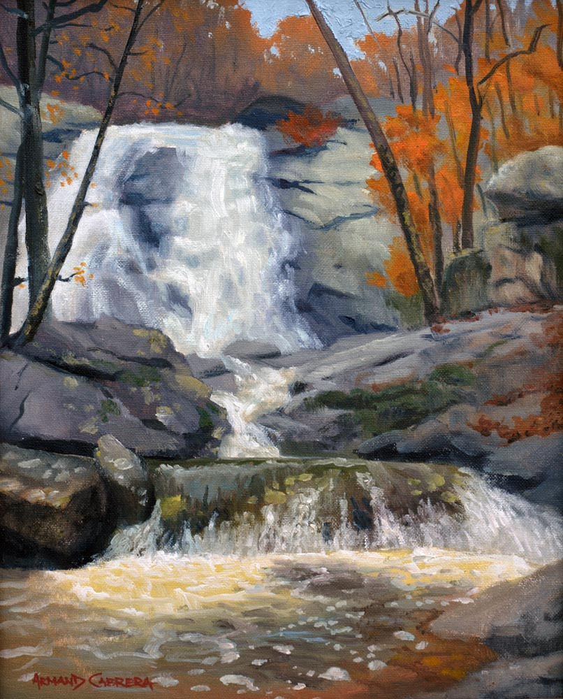 "White Oak Canyon Falls    * SOLD! *       14"" x 11"" Oil  Gallery Price:  $2,400   Sale Price   $1,200"