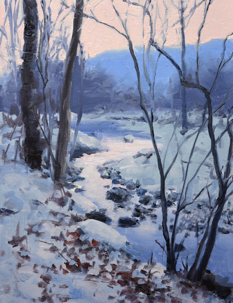 "Winter Stream    12 x 9""  "" Oil   Gallery Price:  $1,800    Sale Price:  $900"