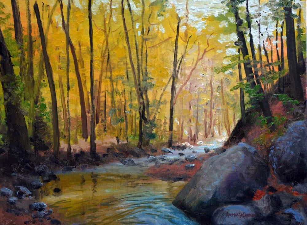 "Autumn Robinson Creek    9"" x 12"" Oil -  $1,800"