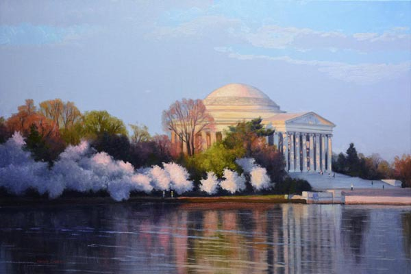 "Dawn's Early Light     24"" x 36"" Oil      $7,900      Jefferson Memorial - Washington DC"