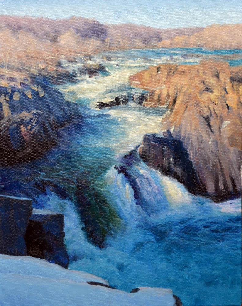 """Great Falls Winter     14"""" x 11"""" Oil       $2,400"""