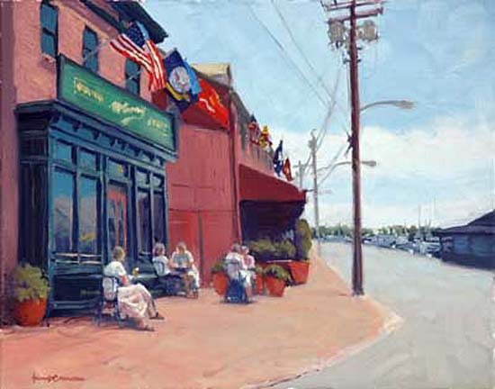 "Outside McGarvey's Annapolis     16"" x 20"" Oil      $3,800"