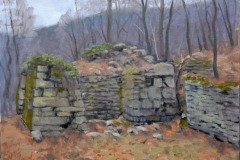 "Elizabeth Furnace     11"" x 14"" Oil    $2,400     Elizabeth Furnace was a blast furnace in the Shenandoah Valley that was used to create pig iron from 1836 – 1888 using Passage Creek for water power. Much of the original stone structure still exists."