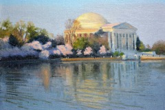 "First Light at Jefferson Memorial     9"" x 12"" Oil      $1,800      Washington DC during the Cherry Blossom Festival"