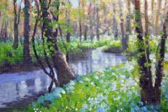 "Riverside Bluebells - 6"" x 8"" Oil  -   $850"