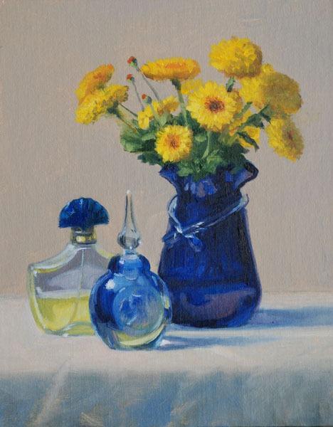 "Perfume Bottles & Chrysanthemums   10"" x 8"" Oil   $1,300"