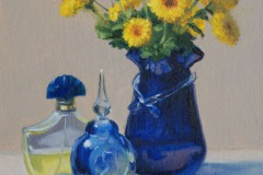 "Perfume Bottles & Chrysanthemums   10"" x 8"" Oil   $1,300"