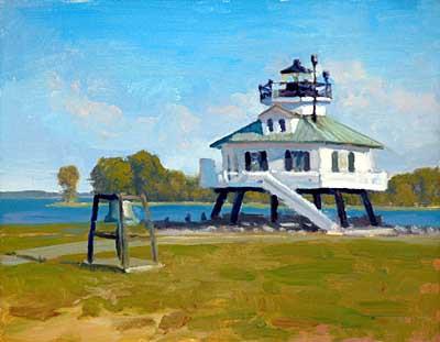 """Hooper Strait Lighhouse   11"""" x 14"""" Oil   $2.400"""