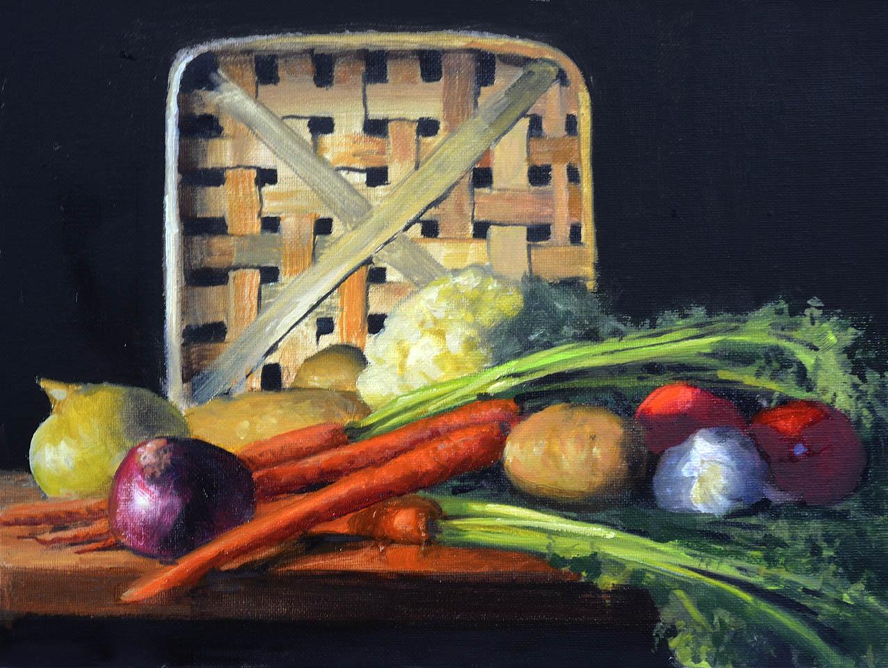 """Antique Tobacco Basket & Vegetables    9"""" x 12"""" Oil    $1,800"""