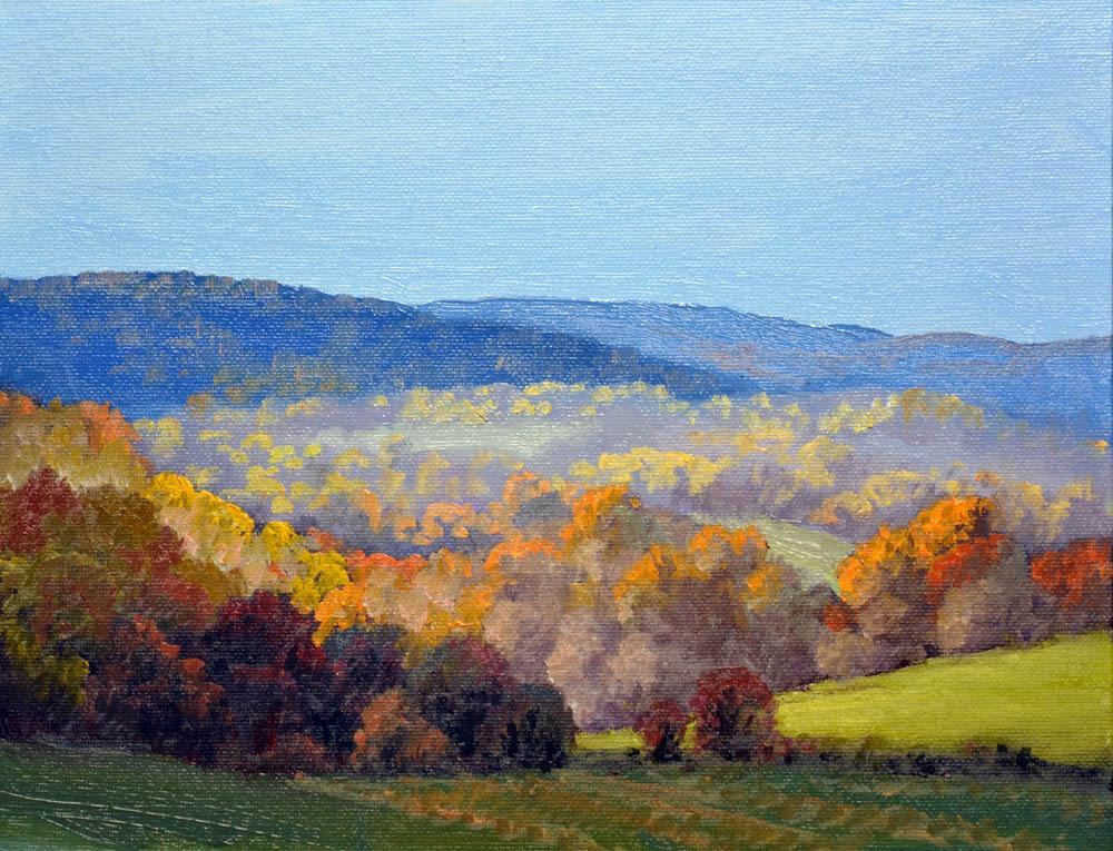 """Autumn Crooked Run Valley     9"""" x 12"""" Oil     $1,800"""