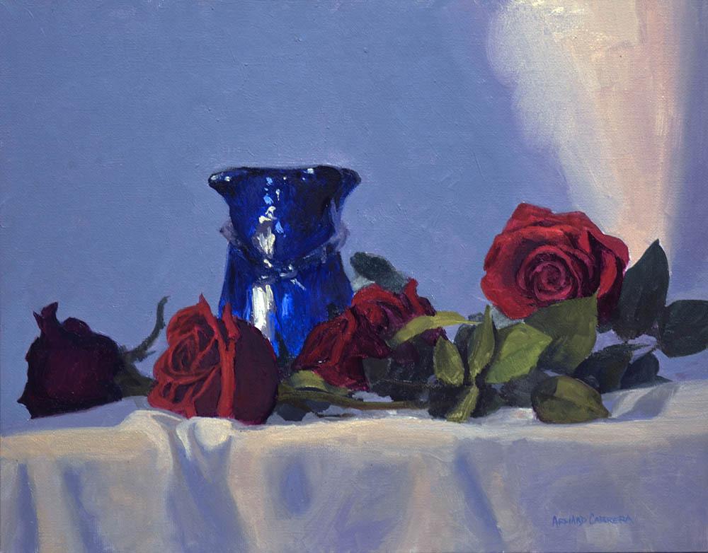 """Blue Vase & Red Roses   11"""" x 14"""" Oil   $2,400"""