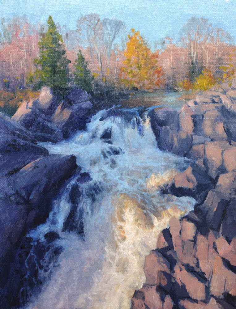 """Olmsted Island Great Falls   12"""" x 9"""" Oil   $1,800"""