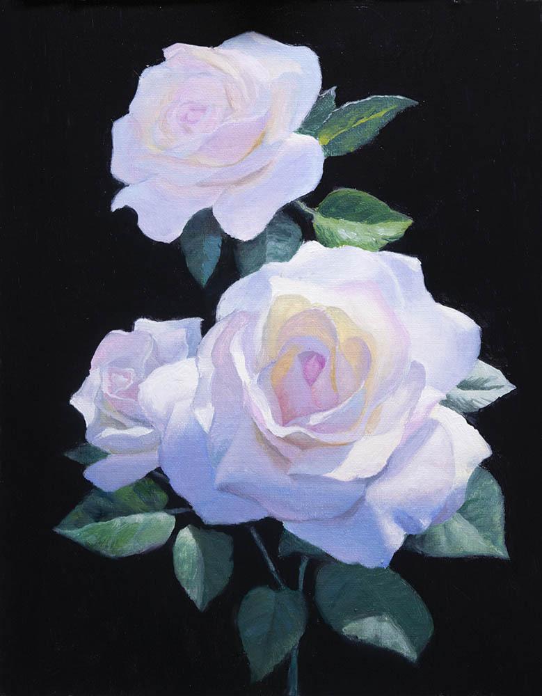 """Three Roses   14"""" x 11"""" Oil   $2,400"""