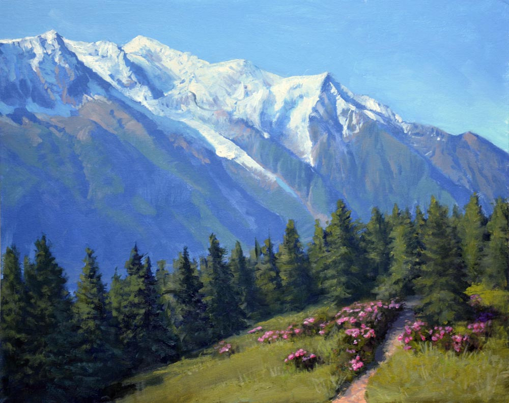 """View of Mount Blanc   16"""" x 20"""" Oil     $3,800"""