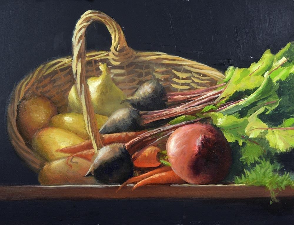 "Vintage White Oak Basket & Garden Vegetables    12"" x 16"" Oil    $2,600"