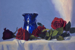"Blue Vase & Red Roses   11"" x 14"" Oil   $2,400"
