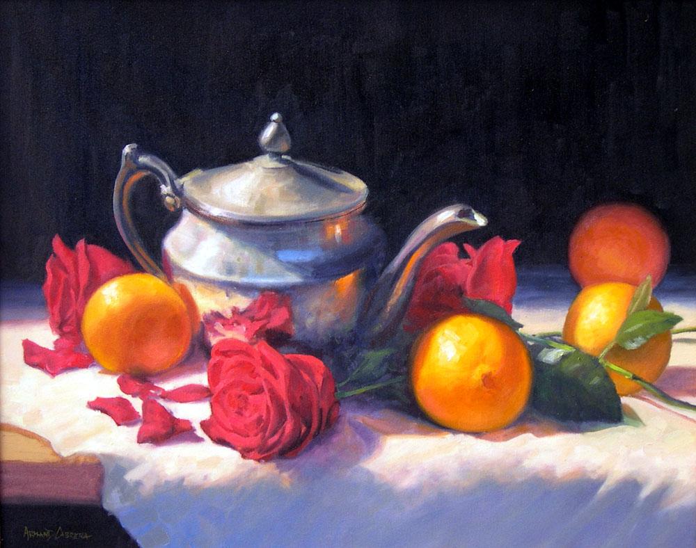 Oranges, Teapot & Roses
